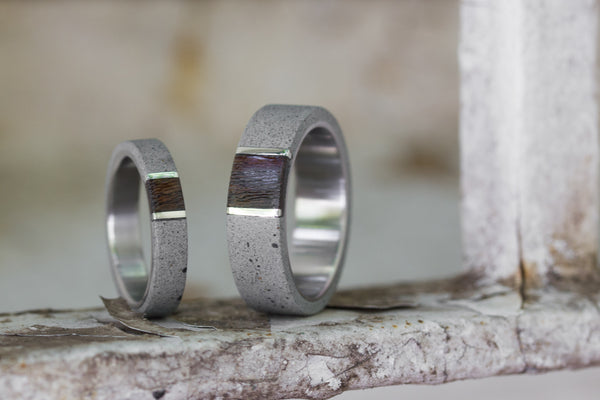 Concrete and titanium wedding bands with wenge and silver (02101_4N7N)