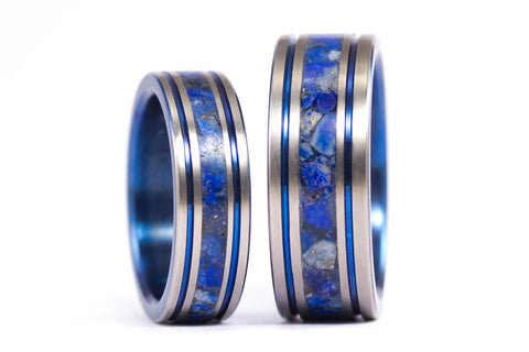 Titanium and lapislazuli wedding bands with anodized inside (03201_6N8N)