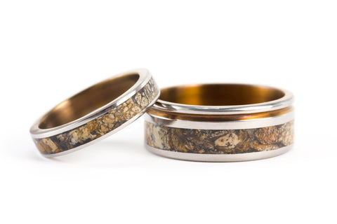 Titanium and jasper wedding bands with anodized inside (03206_4N_03203_8N)