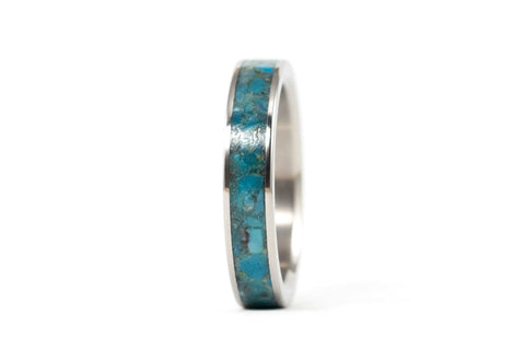 Titanium and chinese turquoise ring (03221_4N)