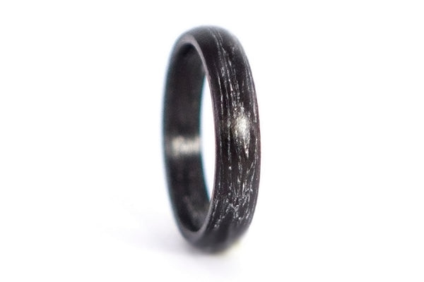 Carbon fiber and silver marbled ring (00102_4N)