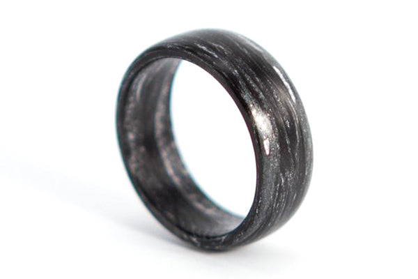 Carbon fiber and silver marbled ring (00102_7N)