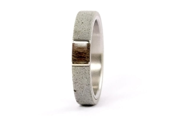 Concrete and titanium ring with wenge and silver (02101_4N)