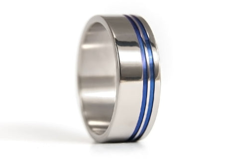 Polished titanium ring with anodized inlays (00027_7N)
