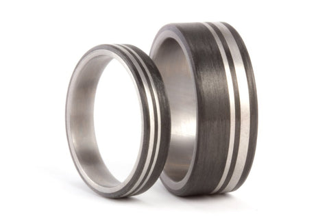 Titanium and carbon fiber wedding bands (00314_4N7N)
