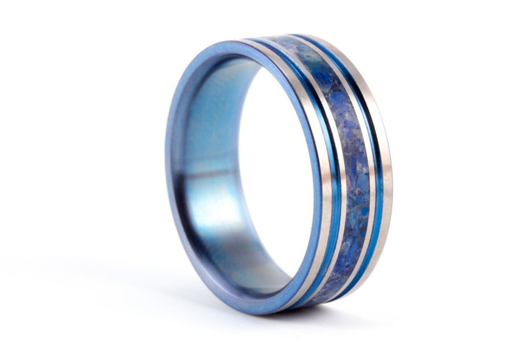 Titanium and lapislazuli ring with anodized inside (03201_8N)