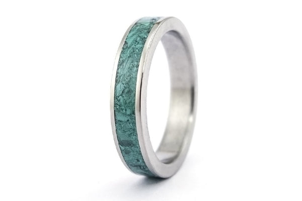 Titanium and malachite ring (03225_4N)
