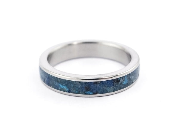 Titanium and chrysocolla ring (03227_4N)