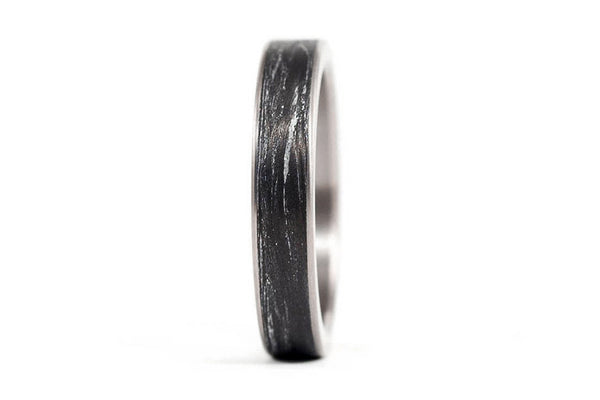 Titanium and marbling carbon fiber ring (00338_4N)