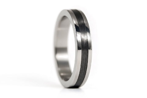 Polished titanium and carbon fiber ring (00347_4N)