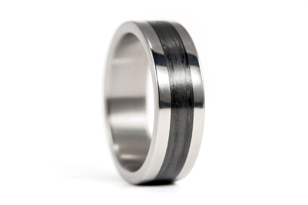 Polished titanium and carbon fiber ring (00347_7N)