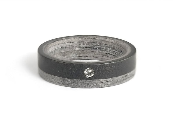 Graphite and bentwood ring with Swarovski (03500_6S)