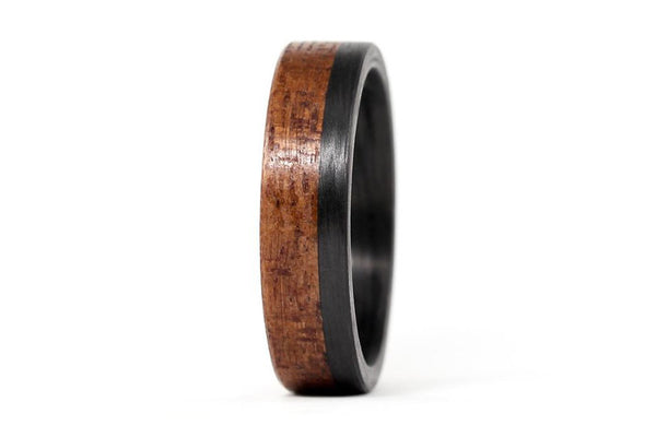 Carbon fiber and caoba bentwood ring (00405_7N)