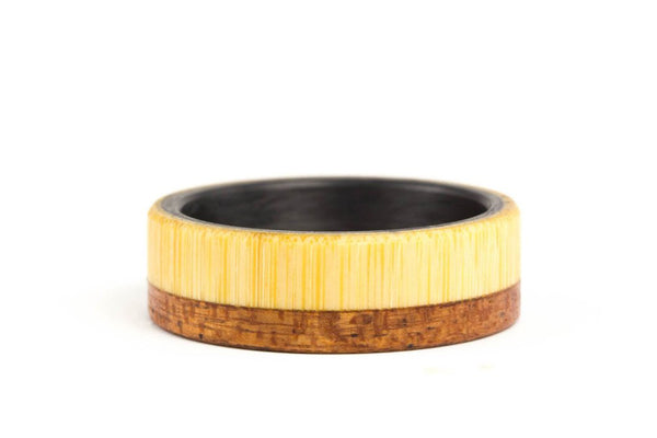 Carbon fiber, bentwood and bamboo ring (00418_8N)
