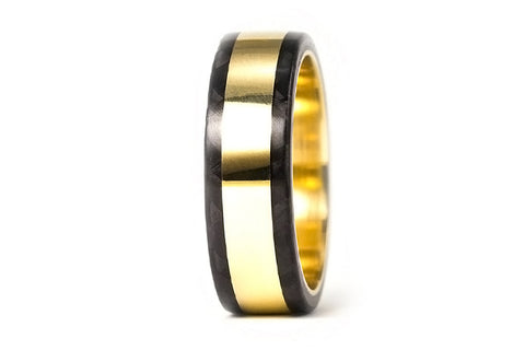 18ct gold and carbon fiber ring (04702_6N)