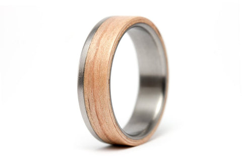 Titanium and oak bentwood ring (00519_6N)