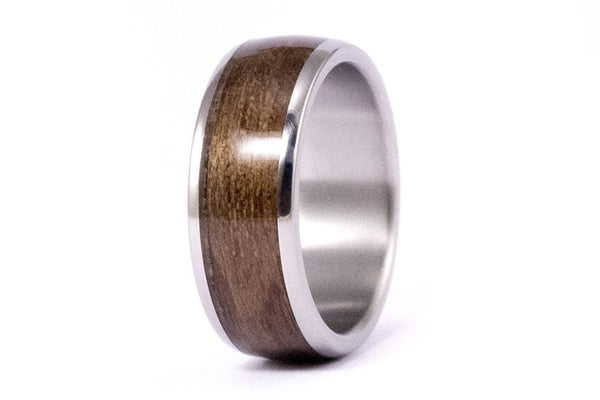 Titanium and incense bentwood ring (00526_8N)