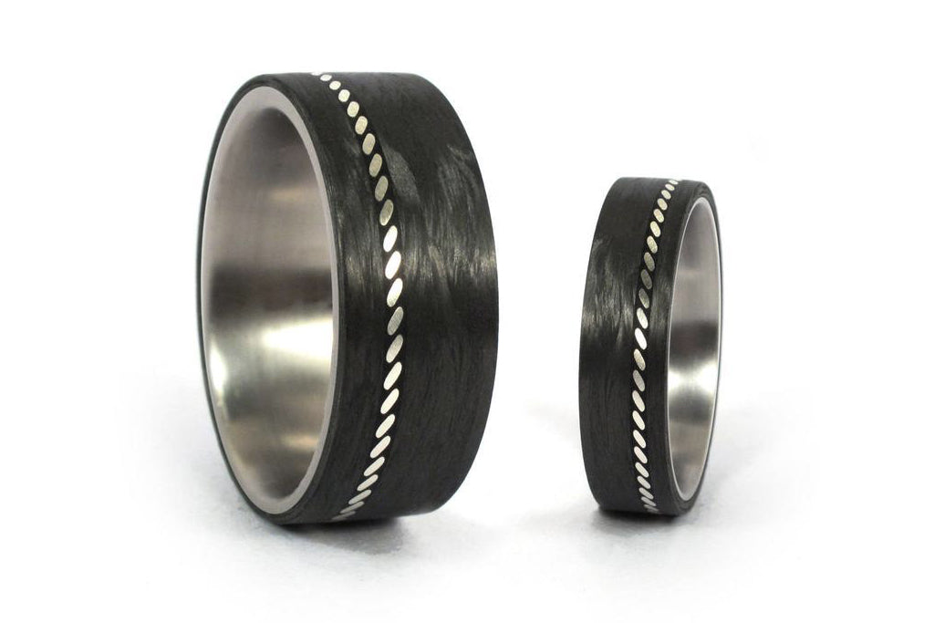 Set of two titanium with silver and carbon fiber inlay ring (01601_6N8N)