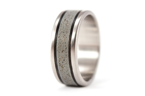 Titanium, concrete and carbon fiber ring (00800_7N)