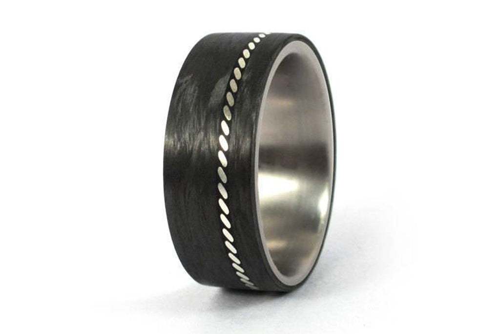 Men's titanium ring with silver and carbon fiber inlay (01601_8N)