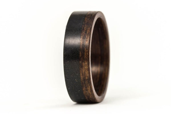 Concrete and wenge bentwood ring (00904_6N)