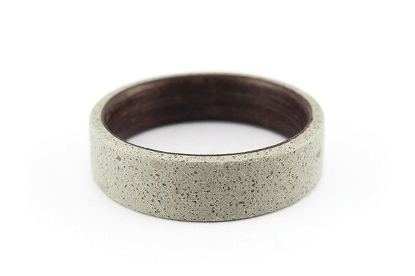 Concrete and wenge bentwood ring (00907_7N )