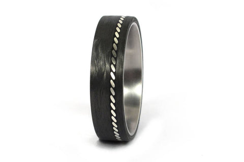Men's titanium ring with silver and carbon fiber (01601_6N)