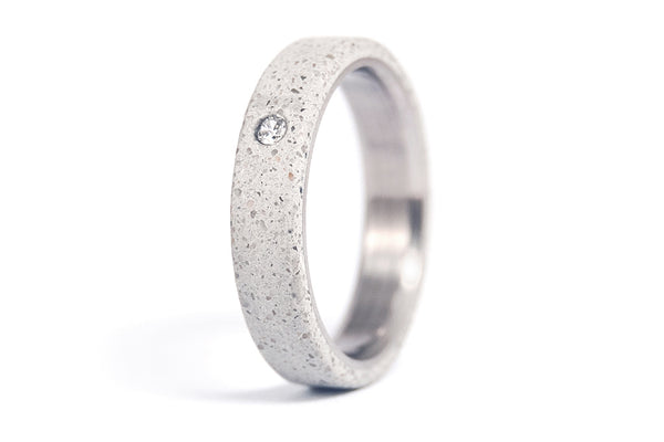 Titanium and concrete wedding bands with Swarovski (00705_4S1_7N)