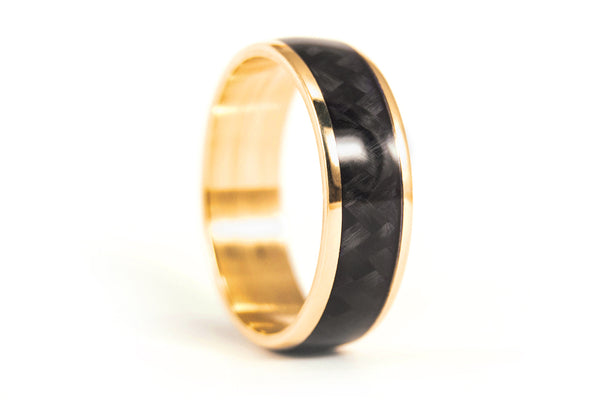 18ct yellow gold and carbon fiber wedding bands (04709_7N7N)