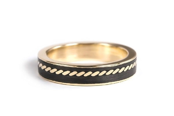18ct yellow gold with carbon fiber ring (04704_4N)