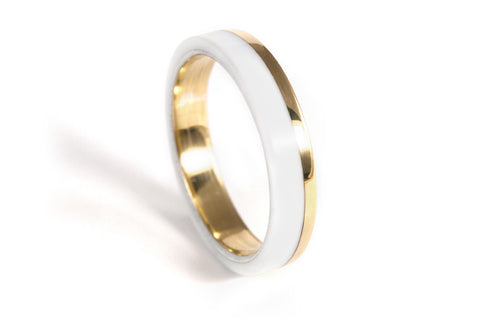 Yellow gold and white corian ring (00423_4O)