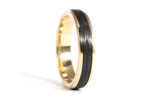18ct yellow gold with carbon fiber ring (04710_4N)