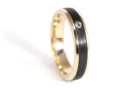 18ct yellow gold with carbon fiber ring with Swarovski (04710_4S1)