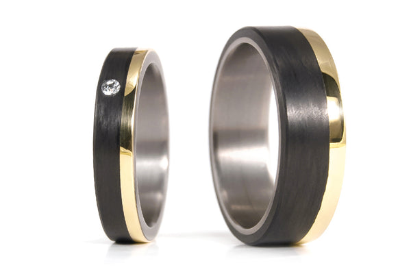 18ct yellow gold, titanium and carbon fiber wedding bands with Swarovski (00424_4S1_7N)