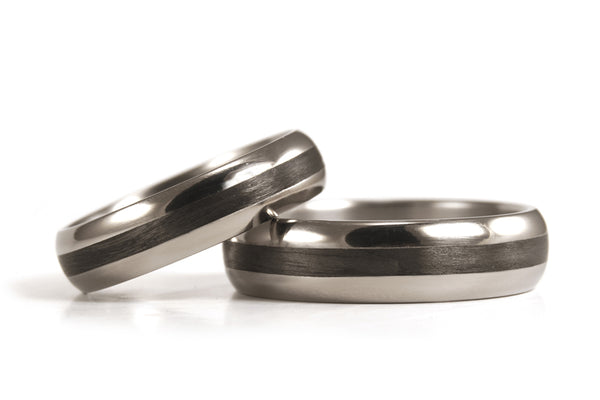 Titanium and carbon fiber wedding bands (00345_4N4N)