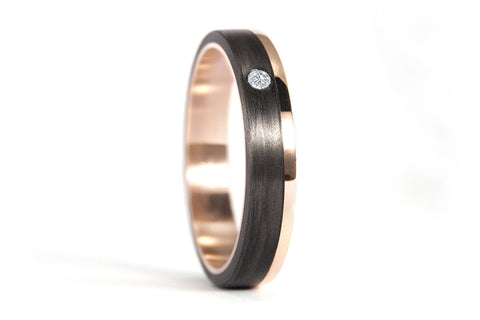 18ct rose gold and carbon fiber ring with diamond (00444_4D)