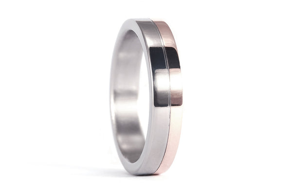 18ct rose gold and titanium ring (00555_6N)