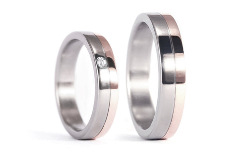 18ct rose gold and titanium wedding bands with Swarovski (00555_6S1_6N)