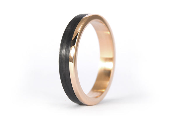 18ct rose gold and carbon fiber ring (00444_4N)