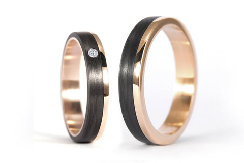 18ct rose gold and carbon fiber wedding bands with diamond (00444_4D4N)