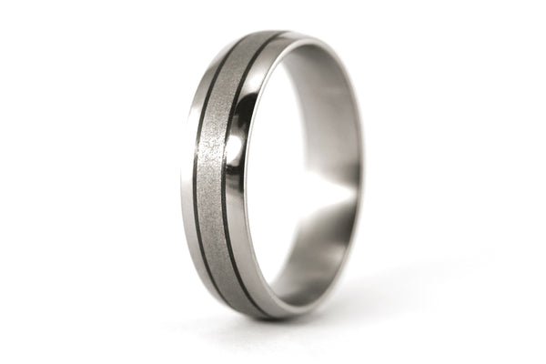 Sandblasted titanium and carbon fiber wedding bands (00300_4N7N)