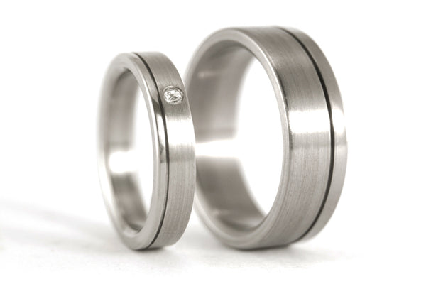 Brushed titanium wedding bands with polished inlay (00020_4S1_7N)