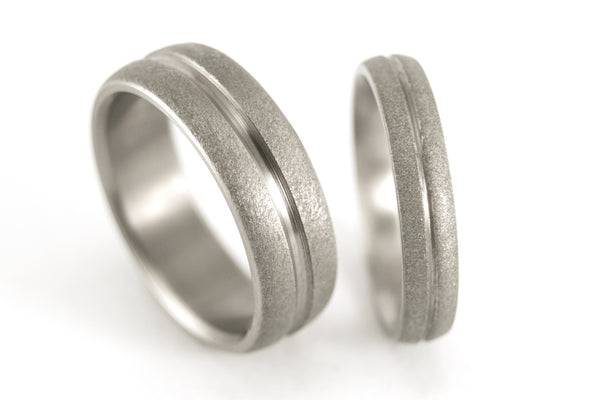 Sandblasted titanium wedding bands with polished inlay (00008_4N7N)