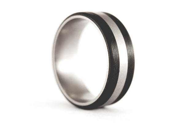 Titanium and carbon fiber wedding bands with Swarovski (00326_4S1_7N)