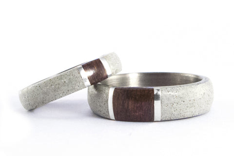Concrete and titanium wedding bands with wenge and silver (02102_4N7N)