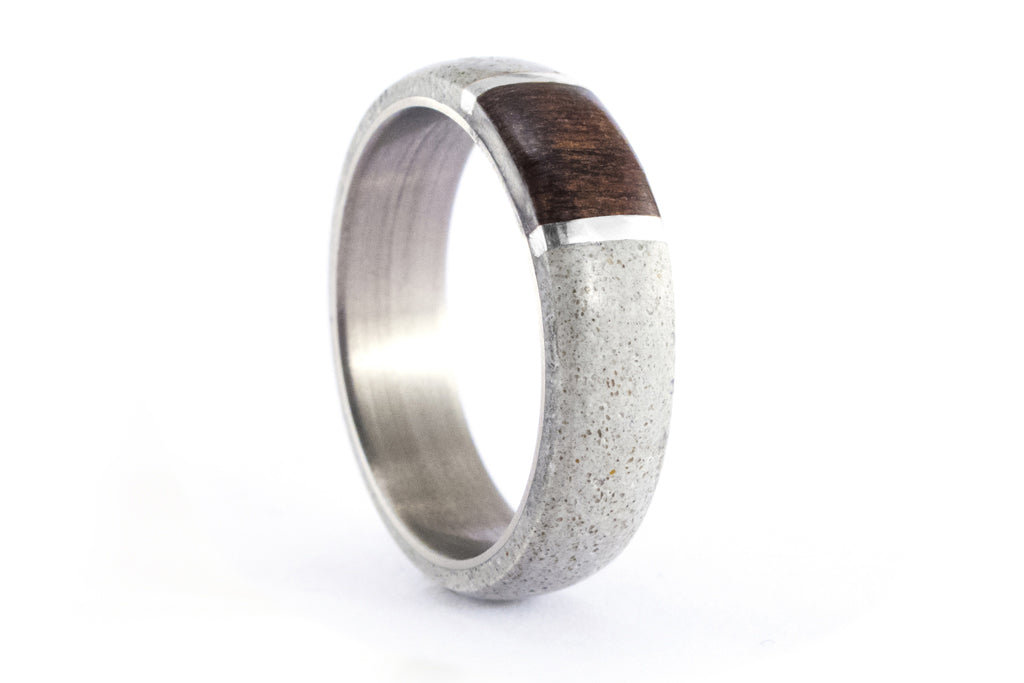 Concrete and titanium ring with wenge and silver (02102_7N)