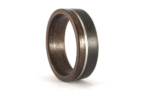 Concrete and wenge bentwood ring with stainless steel inlay (00906_7N)