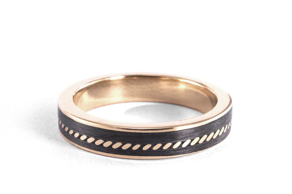 18ct rose gold with carbon fiber ring (04711_4N)