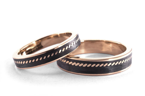 18ct rose gold and carbon fiber wedding bands (04711_4N5N)