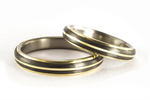 18ct yellow gold, titanium and carbon fiber wedding bands (00559_4N4N)